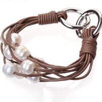 Brown Leather Bracelet 10-11mm Multi Strands Pearl Leather Bracelet