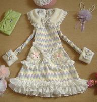Spring New 2014 Lovely Cotton Lolita Dresses Ruffles Fur Sleeve Peter Pan Dress Cute Pockets Princess Sweet Lolita Dress