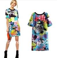 2014 New Arrival Ladies' Fashion vintage floral print Dresses bright color short sleeve slim party evening brand designer dress