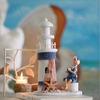 Handmade wood lighthouse resin dolls desktop decoration birthday gift