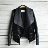 Hot sale! export high-quality Women's Slim leather clothing female short design fur one piece short jacket fur leather jacket