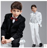 2014 New High quality Gentlemen 8pcs children's clothing set kids suits blazers fashion boys wedding wear formal dress child set