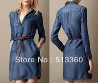 2014 New Fashion Ladies' sexy hot Denim Dresses with belt slim fit elegent cascul slim party evening brand designer dress