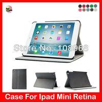 Auto Wake Sleep Function,Stand leather case For Ipad Mini Retina 7.95'' leather case,Black