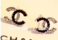 Free Shipping|Wholesale jewelry |Drop Earrings C  half black half white newly fashion design fashion america