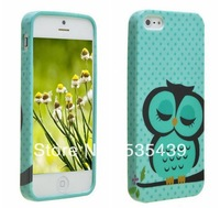 2013 New Hi-Q Hot 10 pcs silicone TPU soft Rubber green owl Cover case for IPHONE 5 5G 5S