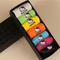 Free shipping Kitty cat  Creative cartoon  gift box socks 7pairs /lot