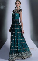 2014 Spring New Elegant Vintage Embroidery Formal Dinner Banquet Special Occasion Celebrity Party Prom Evening Dress