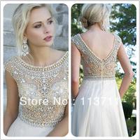 Beautiful vestidos de fiesta Cap Sleeves Jewel Crystal Prom Dresses Chiffon  V-back Evening Dress