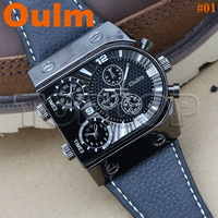 OULM Casual Style Famous Brand Three Times Digital Men's army Japan quartz movement Leather Watchband watch Free shipping