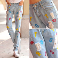 Fashion hole jeans women's personality loose denim straight pants street women's long trousers