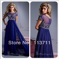 Hot Sale 2014 High Neck Plus Size Short Sleeves Beading Bodice Royal Blue Chiffon Prom Dress