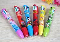 (30 Pcs/Lot) Lovely 6 Colors Pen Refills In 1 Pen Cute Mickey Spider-Man Car Princess Children Cartoon Kawaii Ball Point Pens