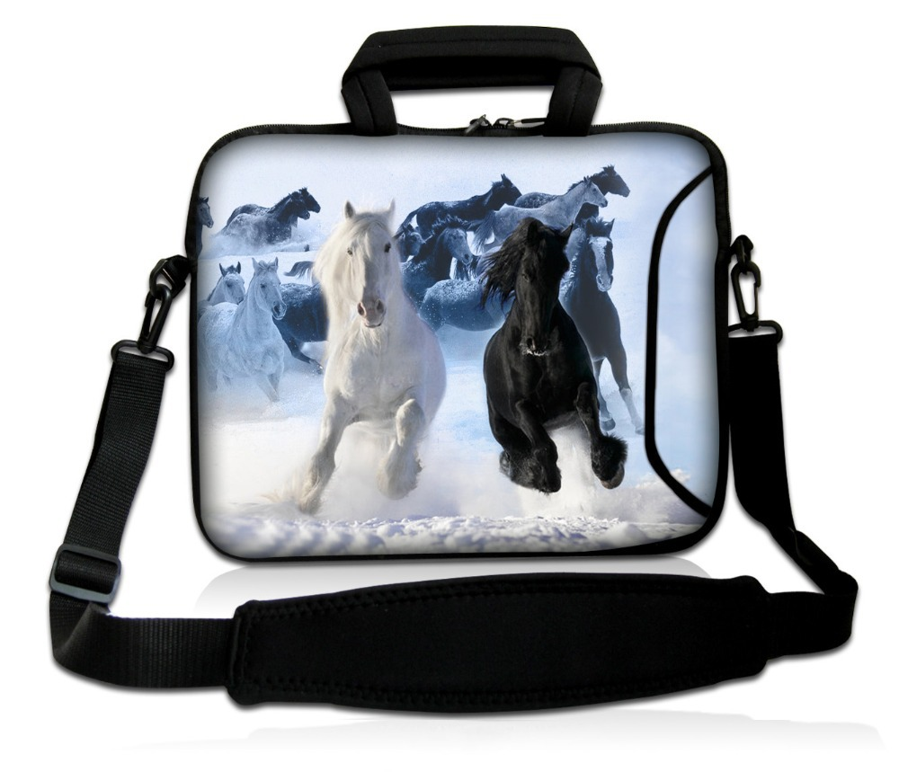 "Black and White Horse Carrying Sleeve Bag Case Cover Pouch+Shoulder Strap Double Pocket For10""13""15""17""Netbook Laptop Tablet PC(China (Mainland))"