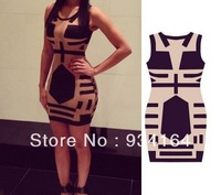 Big Promotion 2014 participants Celebrity Midi Bodycon dress sleeveless sexy party that dress nightclubs detonation print dress