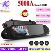 "2014 New Camera Car DVR Rearview Mirror Black Box 4.3""+140 Degree Wide Angle 1080P HD + Motion Detection + G-sensor+AV out +HDMI"