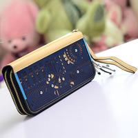2013 6625 double zipper design women's long wallet fashion cutout women's wallet free gift
