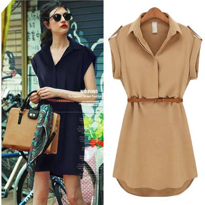 Dark Blue Garment Summer New Women Short-sleeved Large Size Loose Shirt Chiffon Dresses Fashion Casual M L XL(China (Mainland))