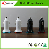 Free shipping by DHL, wholesales Mobile phone dual usb car charger Mini Style 100PCS/lot