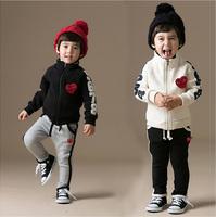 new 2014 Spring clothing children set(coat+pants) Korean Fashion casual cotton set kid's suit 5pieces/lot size 90-130 2colors