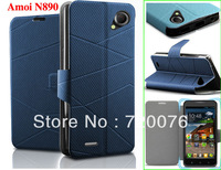 N890  wholesales 2014 fashion Slim Thin stand PU leather flip case  for Amoi N890 free shipping
