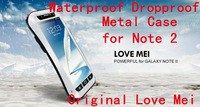 Original Love Mei Life Dirt proof Waterproof Metal Case For Galaxy Note 2 N9000 + Gorilla Glass,MOQ:5ps + Free Shipping