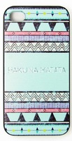 Hakuna Matata Aztec Green Pattern Phone Skin Case Cover For iPhone 4 iPhone 4S