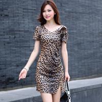 Vestido De Festa None New Arrival Top Fasion Party Dresses Dresses 2014 Leopard Fashion Elegant V-neck Elastic Knitted One-piece