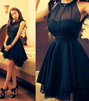 Fashion Irregular Large Peplum Grenadine Stitching Slim sleeveless Chiffon Dress Sexy Halter Dress Summer 2014 Newly Style B122