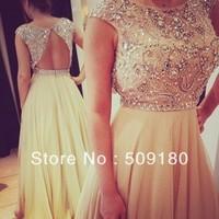 elegent high quality ivory boat neck back hole crystal beaded floor length custom make evening gown JO001 evening dress