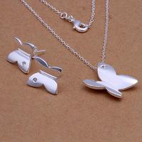 luxury wedding jewelry set cute cheap earrings & necklace, fashion jewelery sets butterfly free shipping LKNSPCS349
