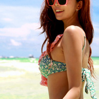 Women's 2014 New Arrival Summer Beach Holiday Lace Floral Print Female Swimsuit Blue Pink Fashion 3 Pieces Bikini Sets