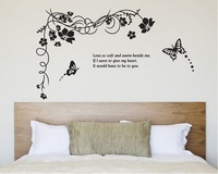 2014 New!Design Hot Selling Flower and butterfly Vinyl Wall Decals :70*120cm Waterproof decoration for TV backgroundWall Sticker