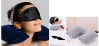 5pcs/lot Free shipping! 3 in1 Travel Set Inflatable Neck Air Cushion Pillow + eye mask + 2 Ear Plug Comfortable business trip