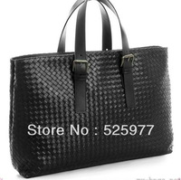 New  Intrecciato Leather Tote Bag 399836 Black  real leather Messenger Bags