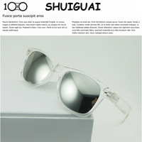 Male Women full transparent box mirror reflective white glasses mercury reflective lens sunglasses