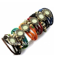 Big Promotion! 100pcs  Retro Quartz Fashion Weave Wrap Around Leather Bracelet Bangle Women's Tree Leaf Green Girl Watch+6colors