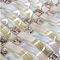 [Mius Art Mosaic] Iridescent Woven wave crystal glass mosaic tile  kitchen backsplash  tilie A4CL170