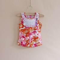 Girls sleeveless cotton yarn collar T shirt