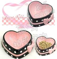 Free Shipping! Sweet Color Ceramic Heart Ribbon Eco-friendly Bow Honey Pet Dog Bowl S L