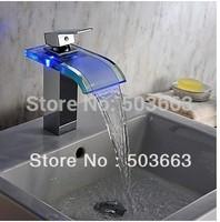 Short Waterfall Luxury LED Chrome Water Power Deck Mounted Mixer Brass Basin Sink Vessel Bathroom MF-313 Tap Mixer Faucet