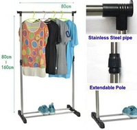 Portable Stainless Steel Clothes Organizer Hanger Rack Garment Coat Cloth Dryer Shoes Hanger Shelf