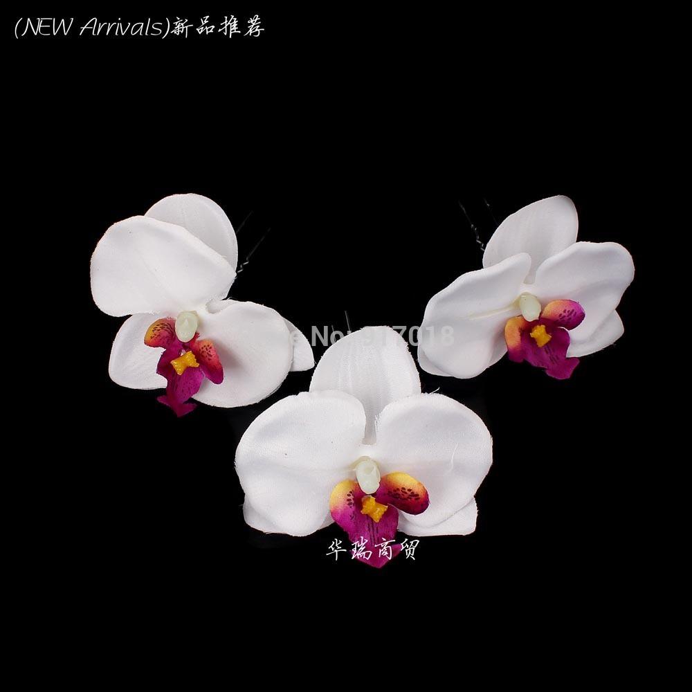 Wholesale 24pcs Lot Orchid Flower Hair Pin Clips