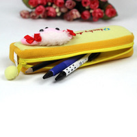 Kids Dogs Cartoon Plush Toys Pencil Case Pen Pocket Square Stationery Bag Yellow Free shipping&Drop Shipping