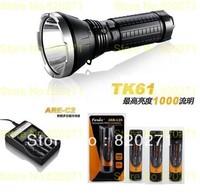 Free Shipping Fenix TK61 L2 LED flashlight 1000 lm+(Fenix ARE-C2 Charger + ARB-L2S 3400 mah 18650 li rechargeable battery 4Pcs )