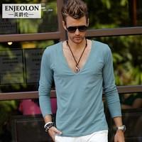 Male V-neck low collar deep v neck fashion long-sleeve T-shirt men's clothing 100% cotton basic shirt
