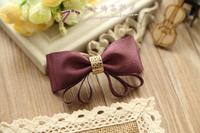 Princess sweet lolita hair accessory Vintage handmade hairpin fairy purple golden silk bow ribbon hair pin side clamp clip