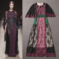2014 Early spring WOMEN NEW ARRIVAL Big European and American Catwalk models Retro lace stitching slim long dress