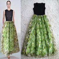 2014 spring and summer The new women Big European and American Catwalk models organza Jacquard sleeveless big swing  dress