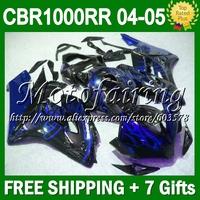 7gifts+Tank Blue flames For HONDA Injection 04 05 CBR1000 RR 2004 2005 CL79101 Blue black CBR 1000 CBR1000RR 1000RR Fairing Kit